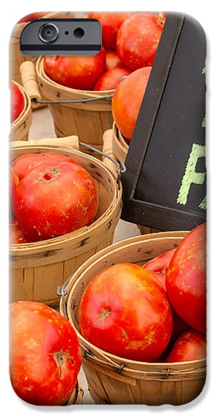 Fresh Tomatoes in Baskets at Farmers Market iPhone Case by Teri Virbickis