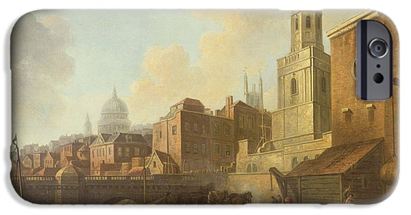 Merchandise iPhone Cases - Fresh Wharf Near London Bridge, C.1762 Oil On Canvas iPhone Case by William Marlow