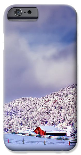 Freshly Fallen Snow on the Ranch iPhone Case by Teri Virbickis