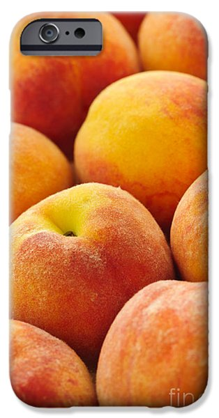 Organic Foods iPhone Cases - Freshness of peaches iPhone Case by Elena Elisseeva