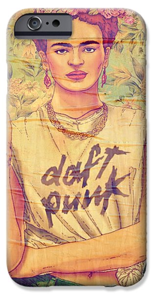 Daft Punk iPhone Cases - Frida Daft Punk iPhone Case by Gizem Guvenc