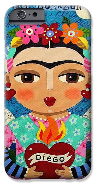 Diego Rivera iPhone Cases - Frida Kahlo Angel and Flaming Heart iPhone Case by LuLu Mypinkturtle
