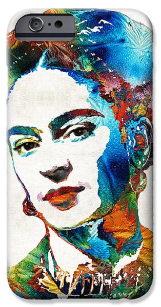 Patterned Paintings iPhone Cases - Frida Kahlo Art - Viva La Frida - By Sharon Cummings iPhone Case by Sharon Cummings