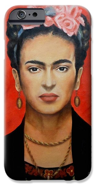 Faces iPhone Cases - Frida Kahlo iPhone Case by Elena Day