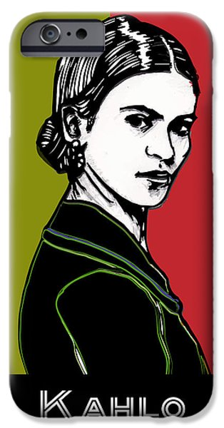 Painter Drawings iPhone Cases - Frida Kahlo Portrait 1920s iPhone Case by Cecely Bloom