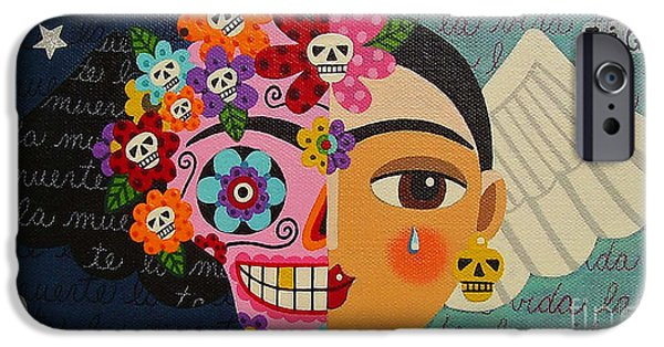 Reproduction iPhone Cases - Frida Kahlo Sugar Skull Angel iPhone Case by LuLu Mypinkturtle