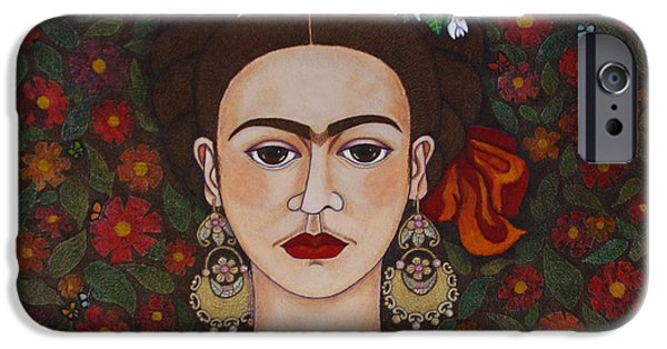 Self-portrait Mixed Media iPhone Cases - Frida Kahlo with butterflies iPhone Case by Madalena Lobao-Tello