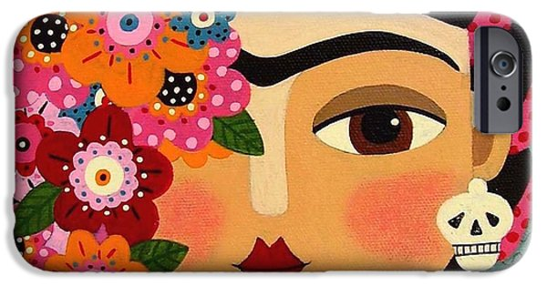 Rivera iPhone Cases - Frida Kahlo with Flowers and Skull iPhone Case by LuLu Mypinkturtle