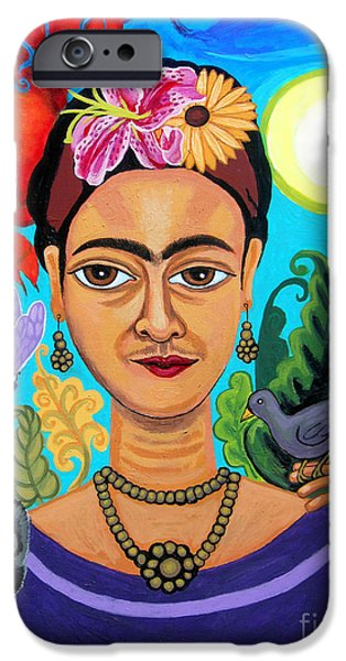 Genevieve Esson iPhone Cases - Frida Kahlo With Monkey and Bird iPhone Case by Genevieve Esson