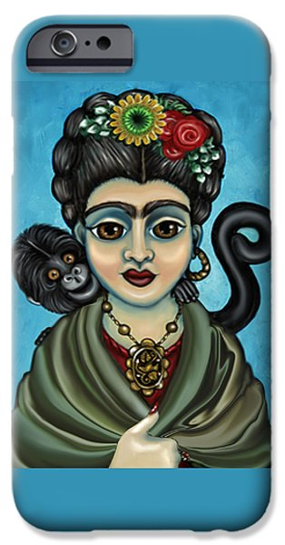 Diego Rivera iPhone Cases - Fridas Monkey iPhone Case by Victoria De Almeida