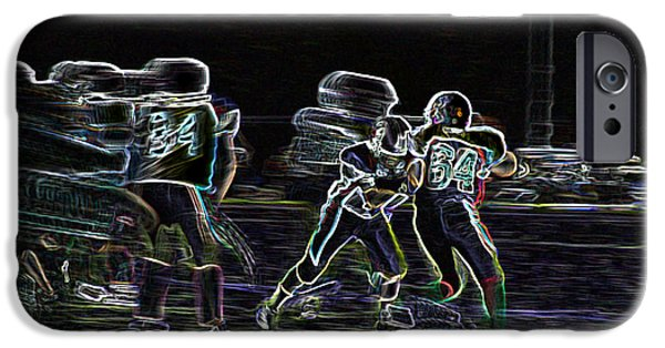Sports Pyrography iPhone Cases - Friday Night Under the Lights iPhone Case by Chris Thomas