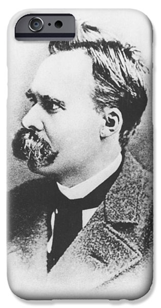Mustaches iPhone Cases - Friedrich Wilhelm Nietzsche in 1883 iPhone Case by German Photographer