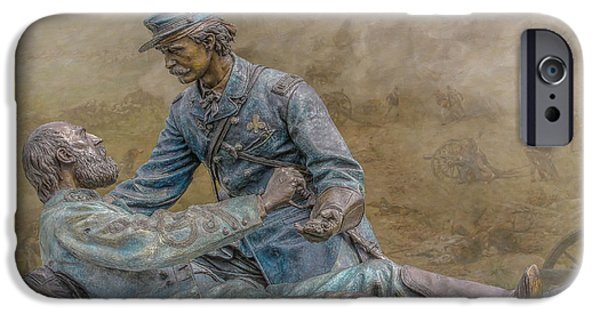 Battle Of Gettysburg Digital iPhone Cases - Friend to Friend Monument Gettysburg Version Two iPhone Case by Randy Steele