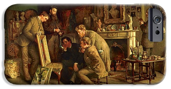 Group iPhone Cases - Friendly Critics, 1882-83 Oil On Canvas iPhone Case by Charles Martin Hardie