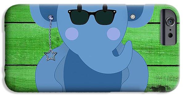 Elephants iPhone Cases - Friendly Elephant Art iPhone Case by Marvin Blaine