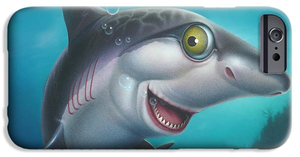Sharks Paintings iPhone Cases - Friendly Shark Cartoony cartoon - under sea - square format iPhone Case by Walt Curlee