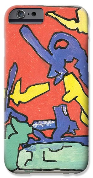 Moonscape Drawings iPhone Cases - Friendly Sin iPhone Case by Ralf Schulze