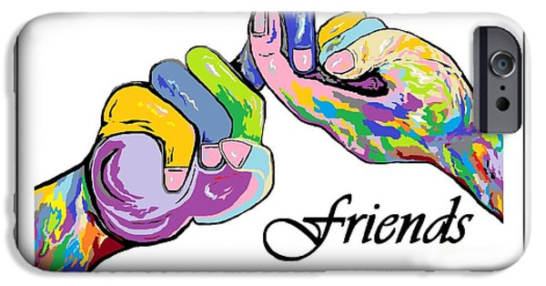 Best Sellers -  - Virtual iPhone Cases - FRIENDS . . . An American Sign Language Painting iPhone Case by Eloise Schneider