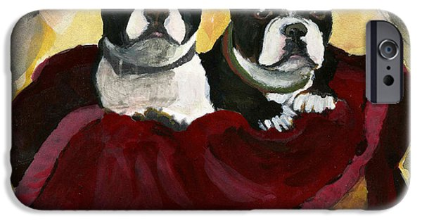 Printmaking iPhone Cases - Friends.  A pair of Boston Terrier Dogs Snuggle in a warm Basket. iPhone Case by Cathy Peterson