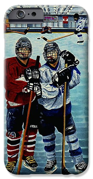 Hockey Paintings iPhone Cases - Friends and Foes iPhone Case by Joy Bradley