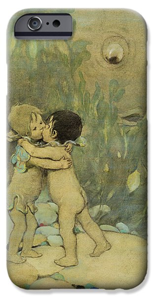 Innocence Drawings iPhone Cases - Friends circa 1916 iPhone Case by Aged Pixel