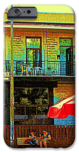 FRIENDS ON THE BENCH AT CARTEL STREET FOOD MEXICAN RESTAURANT RUE CLARK ART OF MONTREAL CITY SCENE iPhone Case by CAROLE SPANDAU