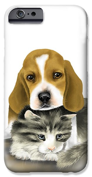 Dogs Digital iPhone Cases - Friends iPhone Case by Veronica Minozzi