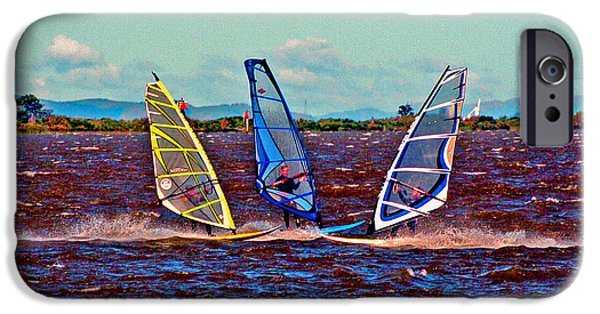 Wind Surfing Art iPhone Cases - Friends Windsurfing iPhone Case by Joseph Coulombe