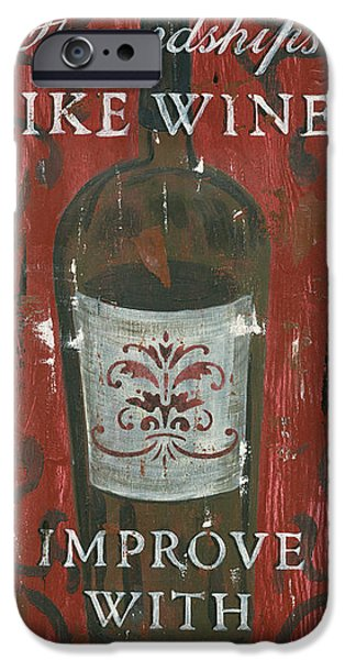 Wine Bottles Paintings iPhone Cases - Friendships Like Wine iPhone Case by Debbie DeWitt
