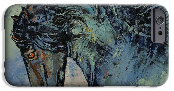 Michael Paintings iPhone Cases - Friesian Stallion iPhone Case by Michael Creese