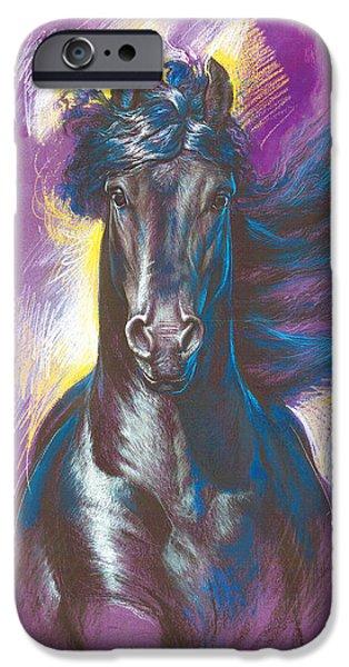 Maine iPhone Cases - Friesian Horse Variant 1 iPhone Case by Zorina Baldescu