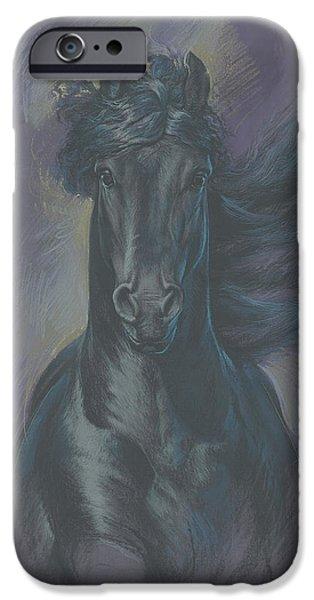 Maine iPhone Cases - Friesian Horse iPhone Case by Zorina Baldescu