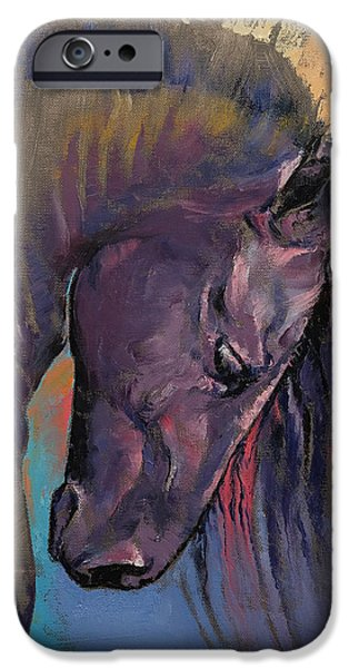 Michael Paintings iPhone Cases - Friesian iPhone Case by Michael Creese