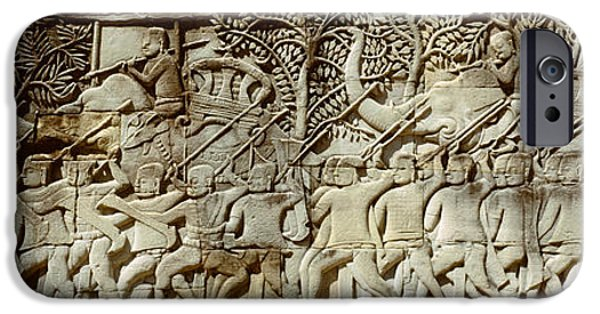 Elephants iPhone Cases - Frieze, Angkor Wat, Cambodia iPhone Case by Panoramic Images