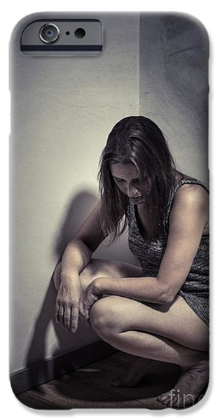 Homeless iPhone Cases - Frightened Woman iPhone Case by Carlos Caetano