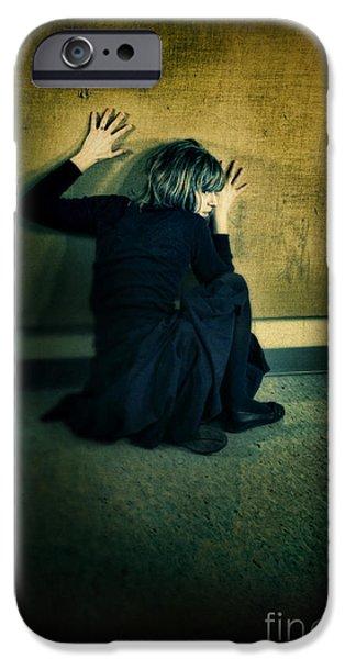 Frightened Woman iPhone Case by Jill Battaglia