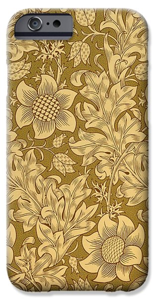 Monochrome Tapestries - Textiles iPhone Cases - Fritillary wallpaper design iPhone Case by William Morris