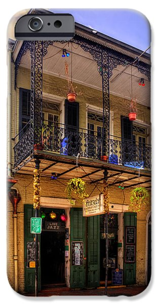 Chrystal iPhone Cases - Fritzels European Jazz Pub New Orleans iPhone Case by Chrystal Mimbs
