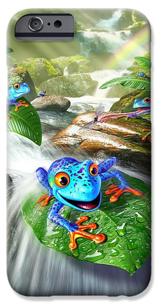 Amphibians Digital Art iPhone Cases - Frog Capades iPhone Case by Jerry LoFaro