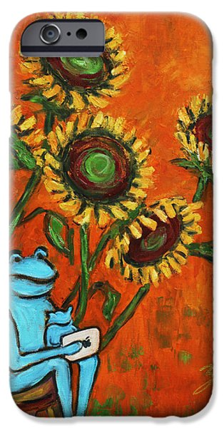Frog i Padding amongst Sunflowers iPhone Case by Xueling Zou