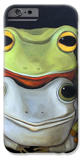 Love Making Paintings iPhone Cases - Frog Love-The Embrace iPhone Case by Leah Saulnier The Painting Maniac