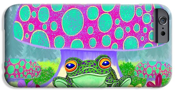 Amphibians Digital Art iPhone Cases - Frog mushrooms and flowers iPhone Case by Nick Gustafson