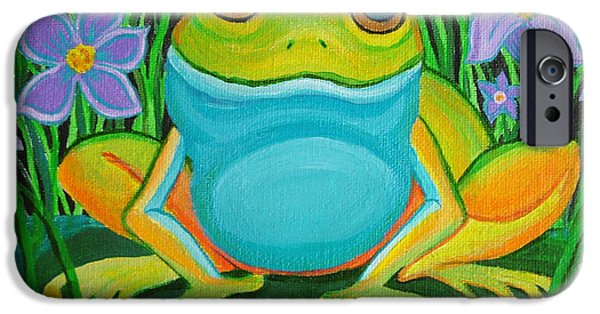 Frogs iPhone Cases - Frog on a lily pad iPhone Case by Nick Gustafson