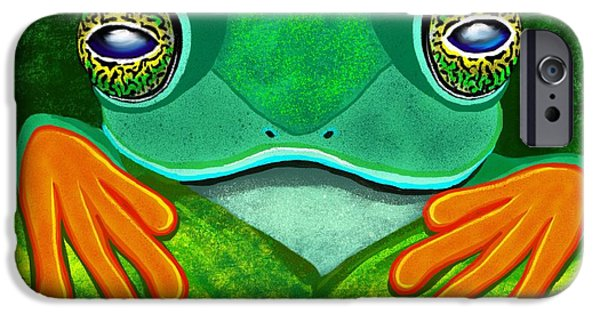 Amphibians Digital Art iPhone Cases - Frog peeking over leaf iPhone Case by Nick Gustafson