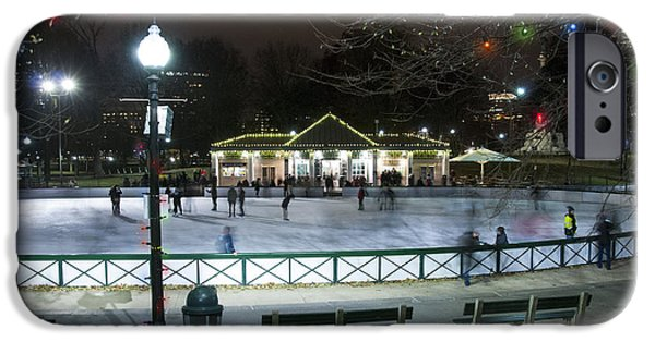 Night Photography iPhone Cases - Frog Pond Ice Skating Rink in Boston Commons iPhone Case by Juli Scalzi