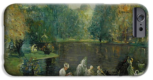 Boston Ma Paintings iPhone Cases - Frog Pond in Boston Public Gardens iPhone Case by Arthur Clifton Goodwin