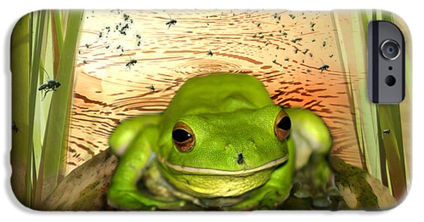 Amphibian iPhone Cases - Froggy Heaven iPhone Case by Holly Kempe