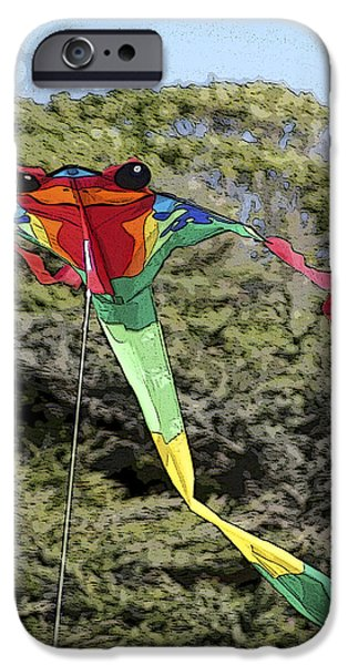 Flying Frog iPhone Cases - Froggy Kite iPhone Case by Joie Cameron-Brown