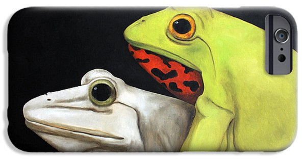 Love Making Paintings iPhone Cases - Froggy Style edit 2 iPhone Case by Leah Saulnier The Painting Maniac