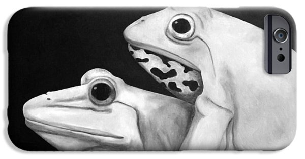 Love Making Paintings iPhone Cases - Froggy Style edit 3 iPhone Case by Leah Saulnier The Painting Maniac